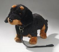 Dackel stehend schwarz mit Leine 30 cm