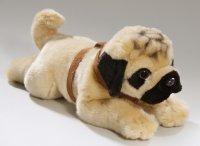 Mops, Bulldogge liegend mit Geschirr 35 cm