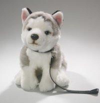 Husky sitzend mit Leine 25 cm