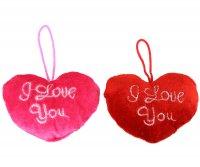 2er Set PLÜSCH HERZ I LOVE YOU RED+ ROSE 9X7CM