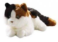 Katze liegend weiß-schwarz-braun 26 cm