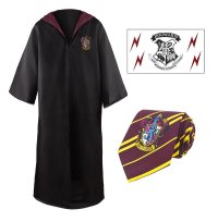 Harry Potter Zauberergewand, Krawatte & Tattoo Set Gryffindor
